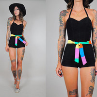 vtg 50's swimsuit bombshell Cole of CA PINUP halter RAINBOW belt one piece Bathing Suit colorblock xs