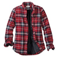 Hamilton Faux Fur Lined Shirt Jacket in Red by Barbour