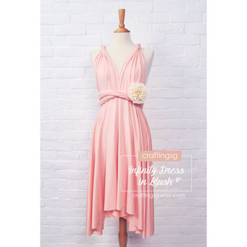 Bridesmaid Dress Infinity Dress Blush Knee Length Wrap Convertible Dress Wedding Dress
