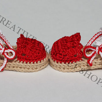 Red White Baby & Toddler Girl Espadrilles (Crochet baby shoes, Gender reveal photos, Baby shower gift, Summer shoes, First birthday)
