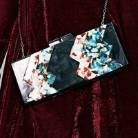 Cooperative Gloss + Glitter Clutch- Black