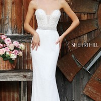 Long Spaghetti Strap Ivory Gown 11260 by Sherri Hill