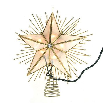 LED 5 Point Capiz Star Christmas Tree Topper with Beads, Gold, 9-Inch