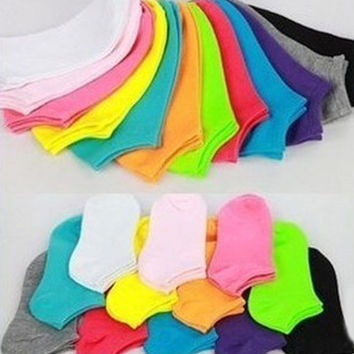 10Pair Candy Color Cotton Sock Many Colors Fashion Ankle Short Socks For Girls Summer Thin Women Socks Short Socks