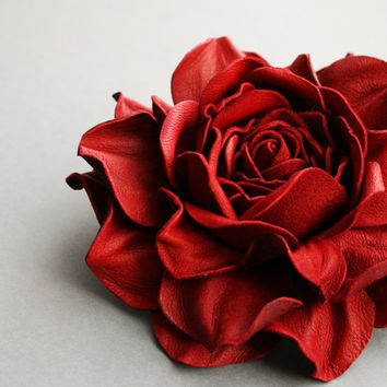 Red  Leather Rose Flower Brooch