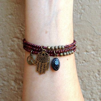 Rosewood Mala Bracelets with Hamsa Hand and Hand Painted Evil Eye Charm