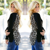 Black Leopard Print Long Sleeve Blouse
