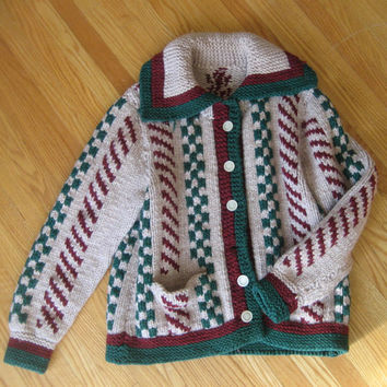 vintage Ski Sweater / Fisherman Sweater / Hand Knit Cardigan / Chunky Knit Cardigan / Cable Knit Sweater / Wool Cardigan / Boho Clothing