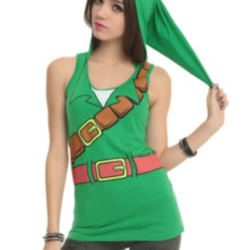 The Legend Of Zelda Link Girls Hooded Tank Top
