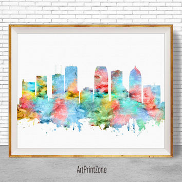 Tampa Art Print, Tampa Print, Tampa Skyline, Tampa Florida, Office Decor, City Skyline Prints, Skyline Art, Cityscape Art, ArtPrintZone