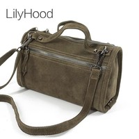 LilyHood Female Suede Genuine Leather Rivet Shoulder Bag For Women Leisure Small Duffle Handbag Nubuck Bowler Crossbody Bag