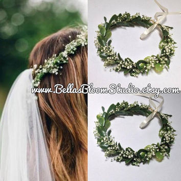 Flower Crown greenery, baby's breath flower crown Boho Wedding, Green Flower Crown, Greenery, Floral Crown, Flower Head Piece, Wedding Crown