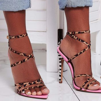 Hot style hot leopard print matching sexy pointy heels