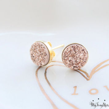 Rose Gold Druzy Earrings Drusy Earrings Drusy Post Earrings  Bridesmaids Gift Bridesmaid Earrings, Tiny Jewelry Valentines Day Gift