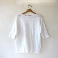 STOREWIDE SALE...Vintage cut out shirt. oversized white tee shirt.