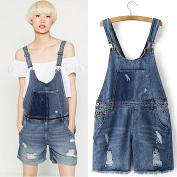 Buckle Distressed Denim Romper Overalls with Pockets