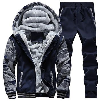 Winter Thick Warm Man Tracksuits With Pants Printed