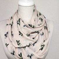 Boston Terrier Dog Pattern Infinity scarf, Circle scarf, Loop scarf, Scarves, Shawls, spring - fall - winter - summer fashion
