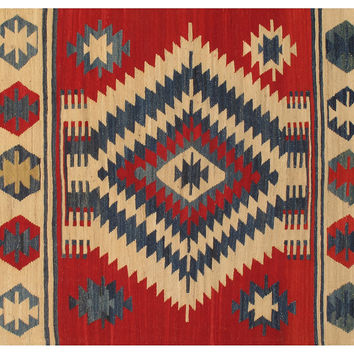 6'x9' Pakistani Kelim Flatweave Rug, Red, Area Rugs