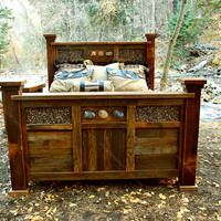 Solid Reclaimed Wood & Rock Rustic Bed    -    USA Made, Eco Friendly. Includes Headboard, Footboard and Rails. One in stock.