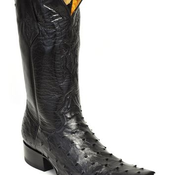 Gavel Handcrafted Spanish Toe Collection Full Quill Ostrich Boots-Black