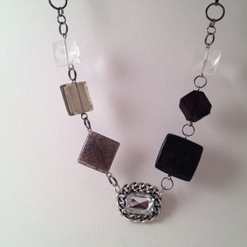 Smoky gray and onyx gray beaded geometric by MynisaUnique on Etsy