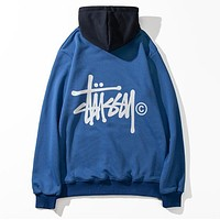 Stussy Popular Women Men Casual Print Long Sleeve Hoodie Sweater Top Sweatshirt Blue
