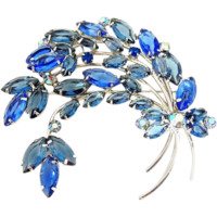 Vintage Blue RHINESTONE Spray Brooch BIGGER is Better