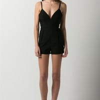 (ami) Boning sweetheart plunge bodycon black romper