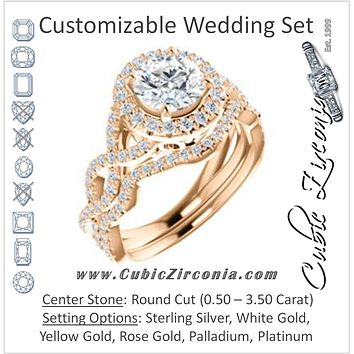 CZ Wedding Set, featuring The Benita engagement ring (Customizable Round Cut with Infinity Split-band Pavé and Halo)