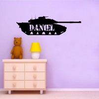Large Army Tank and Your Name wall decal - removable vinyl wall art for kids room, playroom and nursery decor