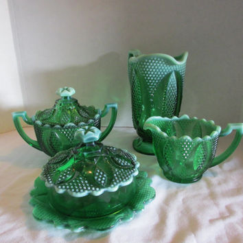 Westmoreland Glass High hob Pitcher, creamer sugar, butter dish, Green opalescent serving set