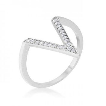 Michelle 0.2ct Cz Rhodium Delicate V-shape Ring (size: 09) (pack of 1 ea)