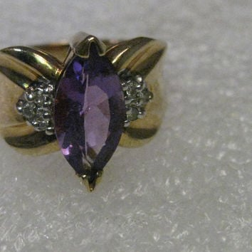 Vintage 10kt Gold Amethyst & Diamond Ring, Wide Band, Marquis, Sz. 6. 4.06 grams