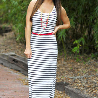 Never Let Me Go Maxi Dress: White/Black | Hope's