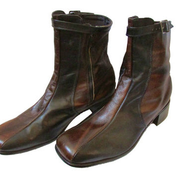 Ankle Zipper Boots Mens Vintage 70s Vegan 10 NOS