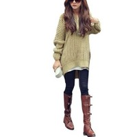 Lady Batwing Sleeve Pullover Loose Hoodie Stylish Knit Sweater