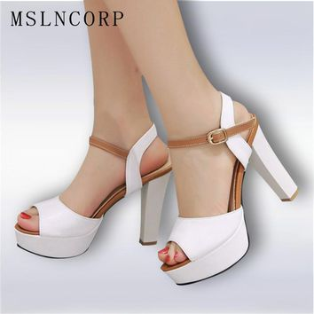 Office & Career Fashion peep toe pumps spikes Rubber sole Square heel sexy super high heel platforms sandals Large size shoes