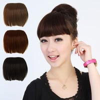 False Human Wig Full Bangs Hair Pieces Extensions Clip in