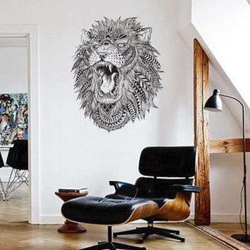 ik1616 Wall Decal Sticker Lion Tiger Head Animal Predator Geometric