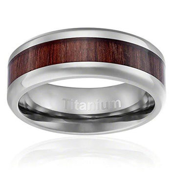 8MM Titanium Ring Wedding Band Dark Wood Inlay Beveled Edges | FREE ENGRAVING