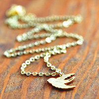 Gold Bird Necklace - gold sparrow necklace, flying bird necklace, gold bird pendant, bridesmaid necklace