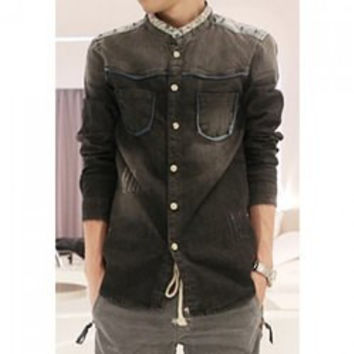 Fashion Stand Collar Bleach Wash Ombre Tiny Floral Splicing Long Sleeves Slimming Denim Shirt For Men