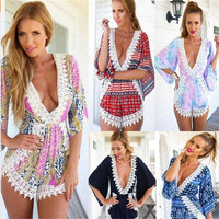 Hot Sale Print V-neck Sexy Long Sleeve Women's Fashion Romper [4918912068]