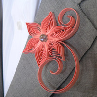 Coral Boutonniere for Wedding, Boutonniere, Salmon Buttonhole, Salmon Wedding Boutonniere, Cayenne Wedding