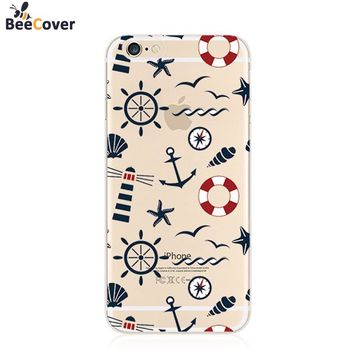 BeeCover For iPhone 8 Case Ultra Soft Silicon Transparent Cover Fundas for iPhone8 7 6 5 5s 6 6s Plus Cute Peacock Anchors Cases