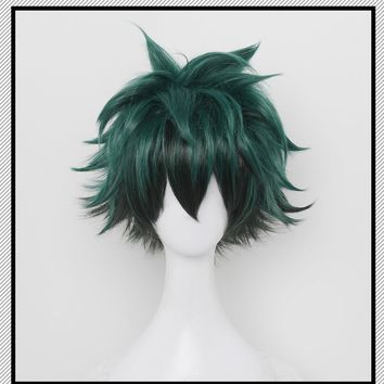 Midoriya Izuku Cosplay Wig Deku Boku no hero academia / My Hero Academia Heat Resistant Synthetic Straight Green Hair
