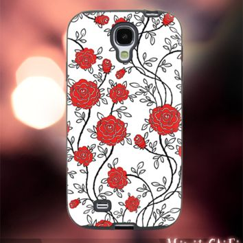 MC249Y,25,old,Classic,Floral,Flowers,Pattern-Accessories case cellphone-Design for Samsung Galaxy S5 - Black case - Material Soft Rubber