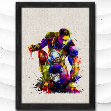Iron Man Watercolor Print Avengers Poster Art Print Baby Room Illustrations Room Superhero Nursery Kids Room Gift Linen Poster CAP80