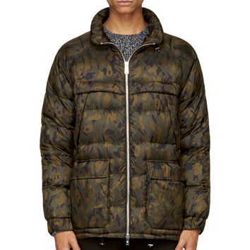 Moncler Gamme Rouge Green And Orange Quilted Nylon Jacket